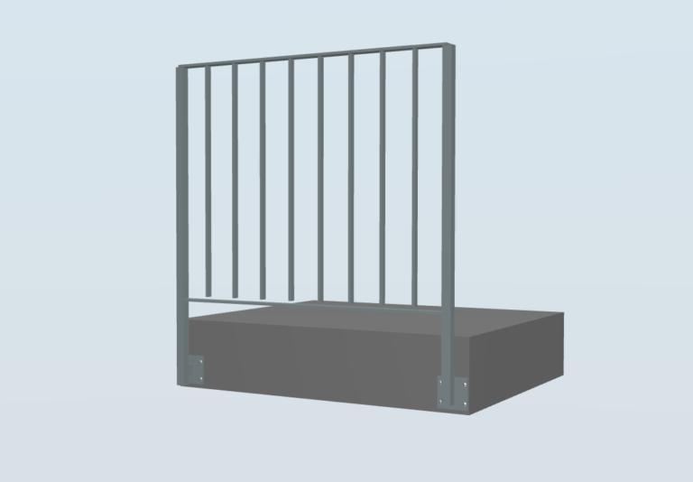 80016 Staketen, Stahl, Verzinkt und PV Besch. mont. seitlich